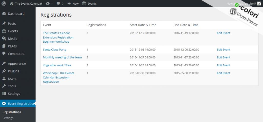 The Events Calendar Extension-Registration PRO - event list